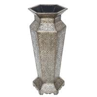 Orientalische Deko Vase Holz Metallverkleidung V03