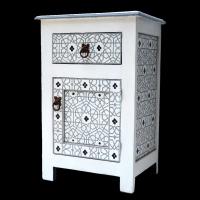 Marokkanische Kommode Fès Vollholz Weiß Handbemalt H 68 cm
