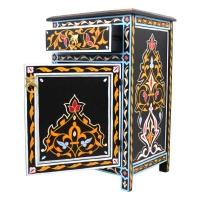 Marokkanische Kommode Menara Vollholz Schwarz Handbemalt H 68 cm
