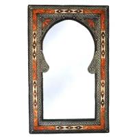 Orientalischer Spiegel Kairo – Orange / Weiß / Mayshort H 80 cm