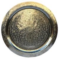 Marokkanisches Teetablett Bonjour – Silber D 80 cm
