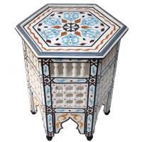 Marokkanischer Beistelltisch Baba - Weiß / Türkis Vollholz Handbemalt H 53 cm