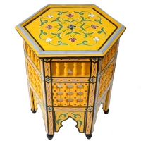Arabischer Beistelltisch Jal – Gelb Handbemalt Vollholz H 42 cm