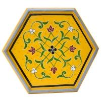 Arabischer Beistelltisch Jal Small Gelb Handbemalt Vollholz H 42 cm
