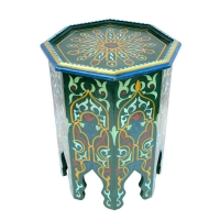 Marokkanischer Beistelltisch Nab – Dunkelgrün / Blau Handbemalt Vollholz H 51 cm