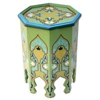 Arabischer Beistelltisch Maroc Grün Handbemalt Vollholz H 51 cm