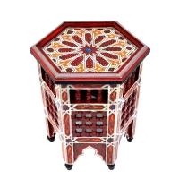 Arabischer Beistelltisch Agadir Klein Bordeaux Vollholz Handbemalt H 42 cm