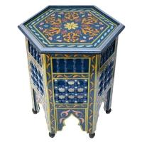 Arabischer Beistelltisch Sami – Blau Handbemalt Vollholz H 53 cm