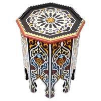 Arabischer Beistelltisch Habibi – Schwarz Handbemalt Vollholz H 50 cm