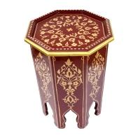 Orientalischer Beistelltisch Arab Bordeaux Handbemalt H 50 cm