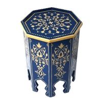 Arabischer Beistelltisch Reyhan – Blau Handbeamlt 100% Handarbeit H 50 cm