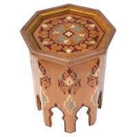 Marokkanischer Beistelltisch Mami Hellbraun Handbeamlt 100% Handarbeit H 50 cm