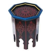 Arabischer Beistelltisch Amman Schwarz Handbemalt Vollholz H 50 cm