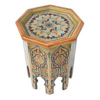 Arabischer Beistelltisch Amir – Beige Vollholz 100% Handarbeit H 50 cm