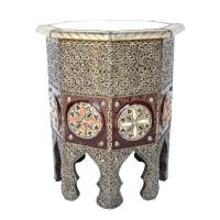 Arabischer Beistelltisch Mulan - Silber H 51 cm