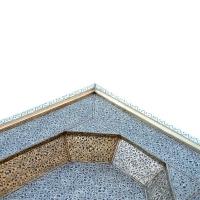 Arabischer Couchtisch Kasbah Vollholz / Versilbertes Messing H 60 cm