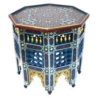 Arabischer Beistelltisch Katar Blau Vollholz Handbemalt H 54 cm