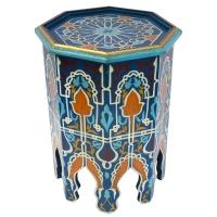 Marokkanischer Beistelltisch Souk  Blau Handbemalt Vollholz H 50 cm