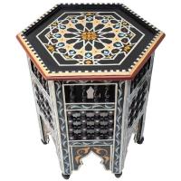 Orientalischer Beistelltisch Bab Small - Schwarz Handbemalt H 42 cm