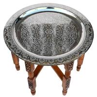 Arabischer Teetisch Dakar Silber 100 % Handarbeit D 80 cm