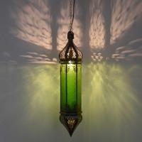 Arabische Deckenlampe Osman Grün H 70 cm