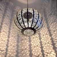 Arabische Lampe Medium Mond Silber H 32 cm