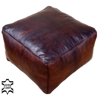 Orientalischer Leder Pouf Cher Dunkelbraun 50x50 cm