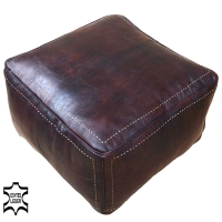 Sitzpouf Trivago aus Echtem Leder – Dunkelbraun mit Naht 50x50 cm