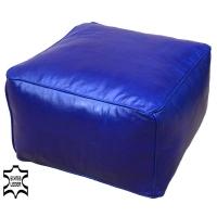 Sitzhocker aus Echtem Leder Himalaya – Dunkelblau 50x50 cm