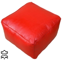 Orientalischer Sitzhocker Fares Box Rot aus Echtem Leder 50x50 cm