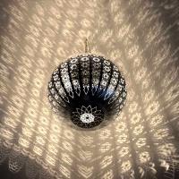 Arabische Deckenlampe Globe Medium Silber H 32 cm