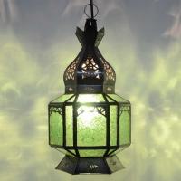 Orientalische Laterne Hexa – Grün Metall/Glas H 35 cm