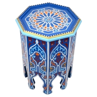 Orientalischer Beistelltisch Aleyna Blau Handbemalt H 50 cm