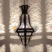 Arabische Deckenlampe Diamond Braun/Kupfer-Antik H 72 cm