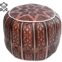 Marokkanisches Sitzkissen Amazigh – Braun  / Echtes Leder D 44 cm